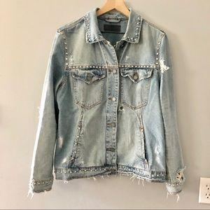Blank NYC Studded Distressed Denim Jacket Size M
